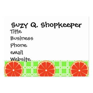 Bright Summer Citrus Grapefruits on Green Squares Large Business Cards (Pack Of 100)