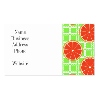 Bright Summer Citrus Grapefruits on Green Squares Business Card