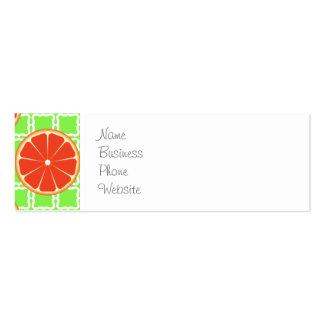 Bright Summer Citrus Grapefruits on Green Squares Mini Business Card