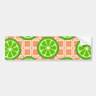 Bright Summer Citrus Limes on Coral Square Tiles Bumper Sticker