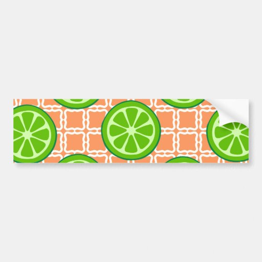 Bright Summer Citrus Limes on Coral Square Tiles Bumper Sticker
