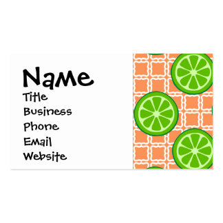 Bright Summer Citrus Limes on Coral Square Tiles Double-Sided Standard Business Cards (Pack Of 100)