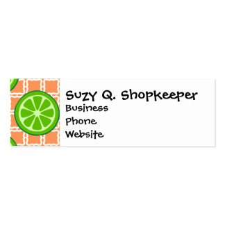 Bright Summer Citrus Limes on Coral Square Tiles Double-Sided Mini Business Cards (Pack Of 20)
