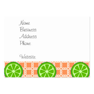 Bright Summer Citrus Limes on Coral Square Tiles Large Business Card