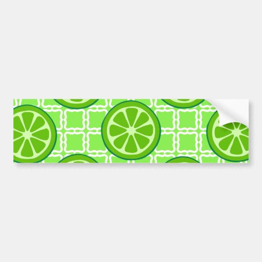 Bright Summer Citrus Limes on Green Square Tiles Bumper Stickers