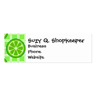 Bright Summer Citrus Limes on Green Square Tiles Double-Sided Mini Business Cards (Pack Of 20)