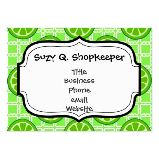 Bright Summer Citrus Limes on Green Square Tiles Pack Of Chubby Business Cards
