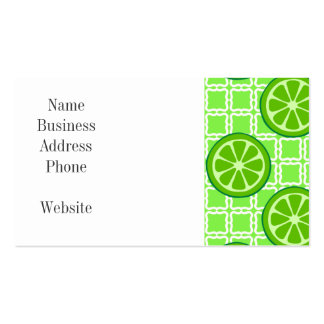 Bright Summer Citrus Limes on Green Square Tiles Double-Sided Standard Business Cards (Pack Of 100)