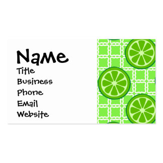 Bright Summer Citrus Limes on Green Square Tiles Pack Of Standard Business Cards