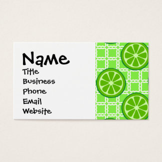 Bright Summer Citrus Limes on Green Square Tiles Business Card