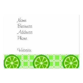Bright Summer Citrus Limes on Green Square Tiles Large Business Card