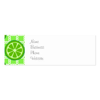 Bright Summer Citrus Limes on Green Square Tiles Pack Of Skinny Business Cards