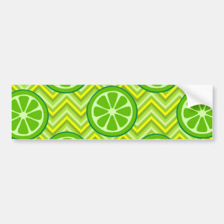 Bright Summer Citrus Limes on Green Yellow Chevron Bumper Sticker