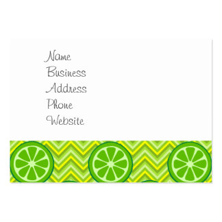Bright Summer Citrus Limes on Green Yellow Chevron Pack Of Chubby Business Cards