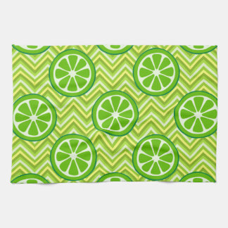 Bright Summer Citrus Limes on Green Yellow Chevron Kitchen Towel