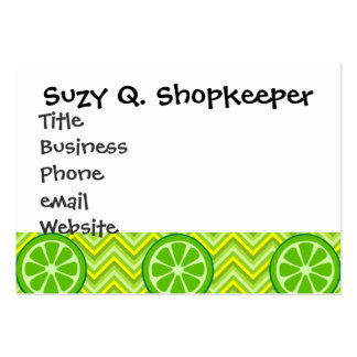 Bright Summer Citrus Limes on Green Yellow Chevron Large Business Card