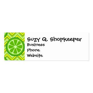 Bright Summer Citrus Limes on Green Yellow Chevron Mini Business Card