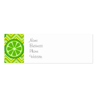 Bright Summer Citrus Limes on Green Yellow Chevron Mini Business Card