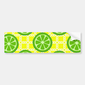 Bright Summer Citrus Limes on Yellow Square Tiles Bumper Sticker