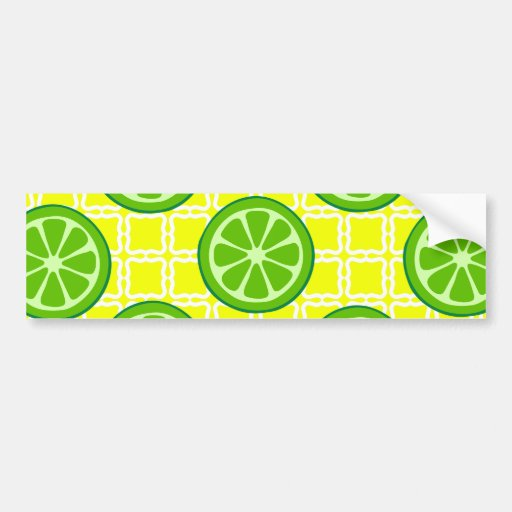 Bright Summer Citrus Limes on Yellow Square Tiles Bumper Stickers