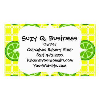 Bright Summer Citrus Limes on Yellow Square Tiles Business Card Templates
