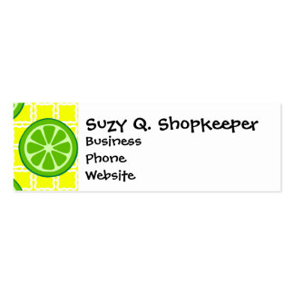 Bright Summer Citrus Limes on Yellow Square Tiles Double-Sided Mini Business Cards (Pack Of 20)