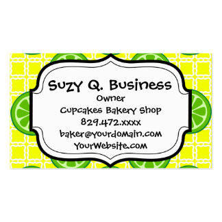 Bright Summer Citrus Limes on Yellow Square Tiles Business Card
