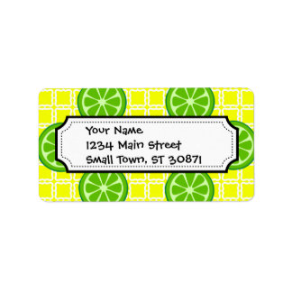 Bright Summer Citrus Limes on Yellow Square Tiles Label