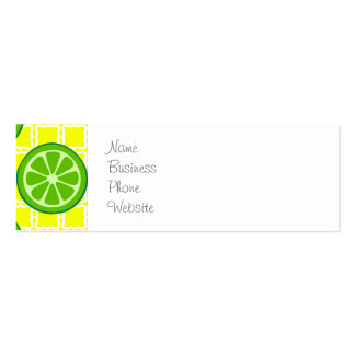 Bright Summer Citrus Limes on Yellow Square Tiles Pack Of Skinny Business Cards