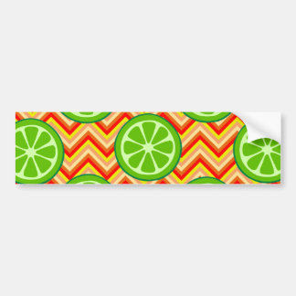 Bright Summer Citrus Limes Orange Yellow Chevron Bumper Sticker
