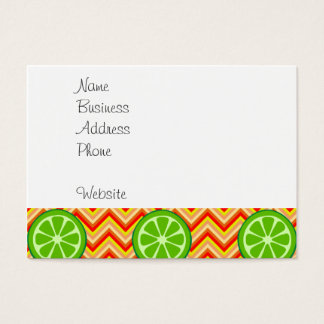 Bright Summer Citrus Limes Orange Yellow Chevron Business Card