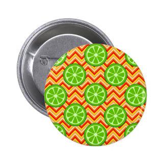 Bright Summer Citrus Limes Orange Yellow Chevron Pins