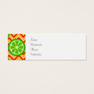 Bright Summer Citrus Limes Orange Yellow Chevron Mini Business Card