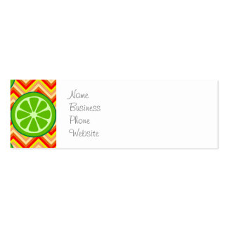 Bright Summer Citrus Limes Orange Yellow Chevron Pack Of Skinny Business Cards