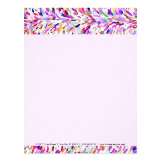 Bright Summer Colors Paint Splatter Pattern Letterhead Template