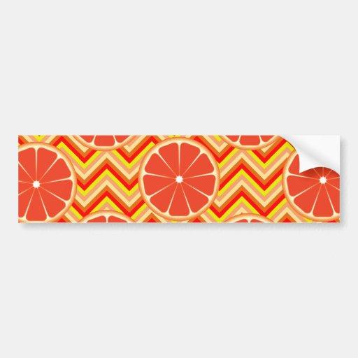 Bright Summer Grapefruit on Orange Yellow Chevron Bumper Stickers