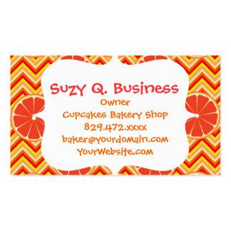 Bright Summer Grapefruit on Orange Yellow Chevron Business Card