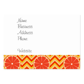 Bright Summer Grapefruit on Orange Yellow Chevron Large Business Cards (Pack Of 100)