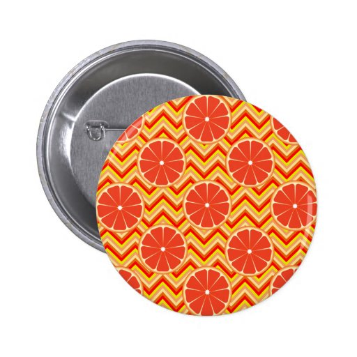 Bright Summer Grapefruit on Orange Yellow Chevron Pins