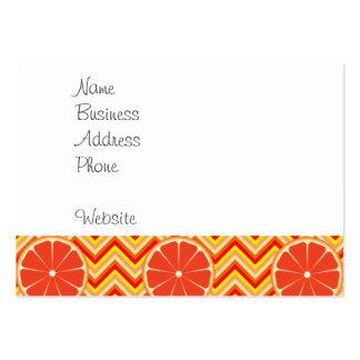 Bright Summer Grapefruit on Orange Yellow Chevron Large Business Card