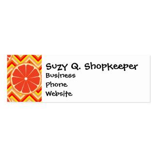 Bright Summer Grapefruit on Orange Yellow Chevron Mini Business Card