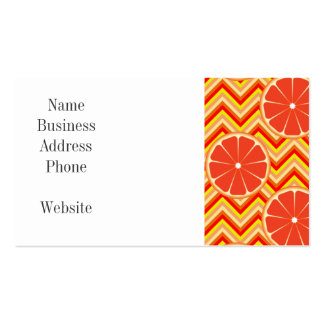 Bright Summer Grapefruit on Orange Yellow Chevron Pack Of Standard Business Cards