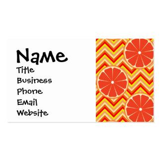 Bright Summer Grapefruit on Orange Yellow Chevron Pack Of Standard Business Cards