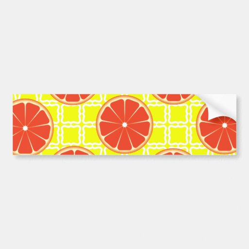 Bright Summer Grapefruits on Lemon Yellow Squares Bumper Sticker