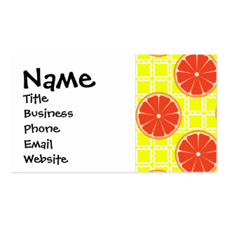 Bright Summer Grapefruits on Lemon Yellow Squares Double-Sided Standard Business Cards (Pack Of 100)