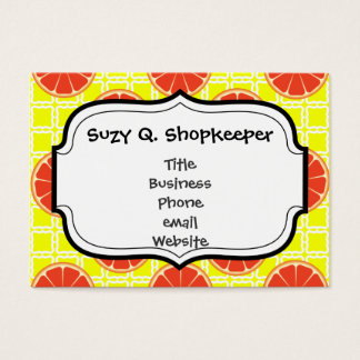 Bright Summer Grapefruits on Lemon Yellow Squares Business Card