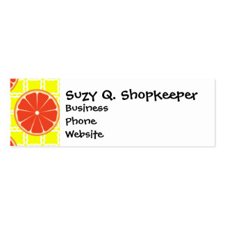 Bright Summer Grapefruits on Lemon Yellow Squares Pack Of Skinny Business Cards