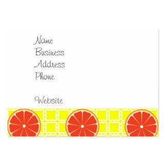 Bright Summer Grapefruits on Lemon Yellow Squares Large Business Card