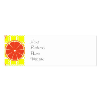 Bright Summer Grapefruits on Lemon Yellow Squares Mini Business Card