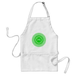 Bright Summer Green Burst on White Monogram Standard Apron
